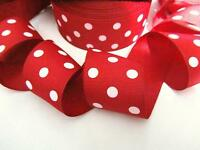 """5 yard Red/White Grosgrain 1.5"""" Ribbon POLKA DOTS/38mm/Polyester/Craft/bow R20-M"""