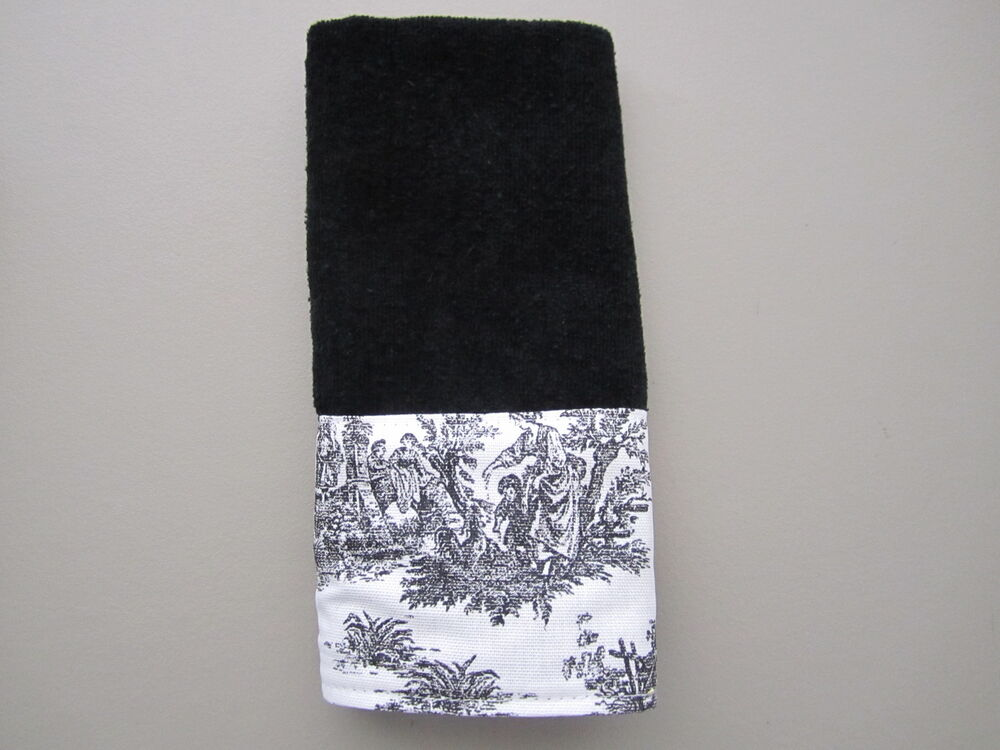 Black White French Country Toile Fingertip Guest Towels White Or Black Towels Ebay