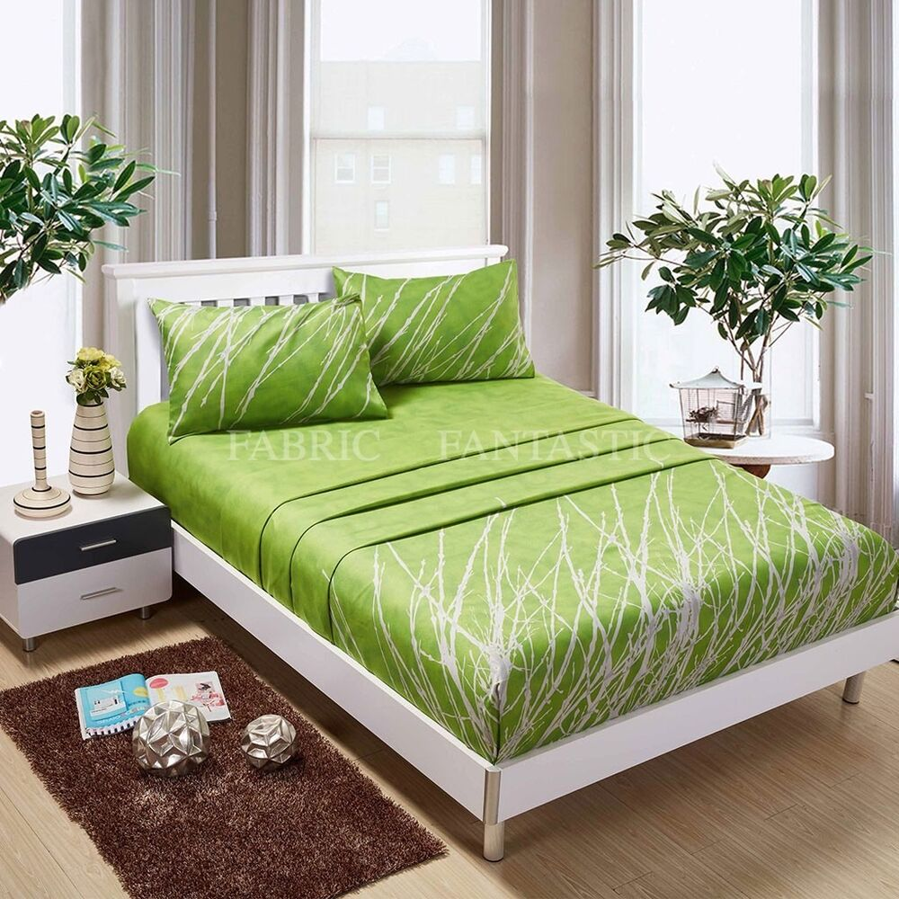 Green tree sheet set queen king super king size bed flat How to put a fitted sheet on a bed