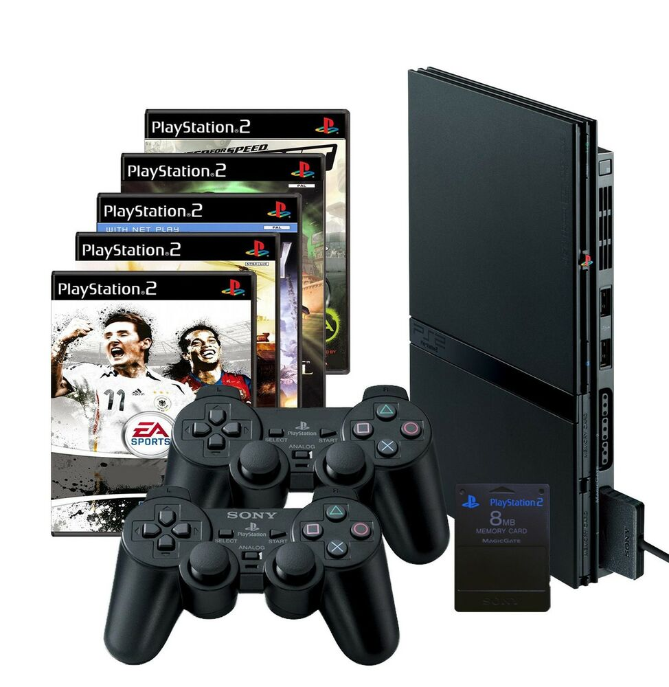 sony playstation 2 slim schwarz ps2 10 spiele 2. Black Bedroom Furniture Sets. Home Design Ideas