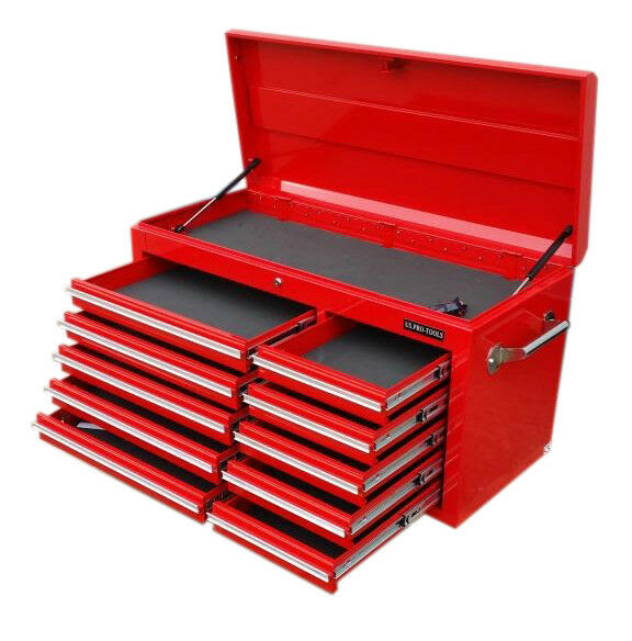 US PRO Tools Red Tool Chest Cabinet Box Snap Up Cabinet