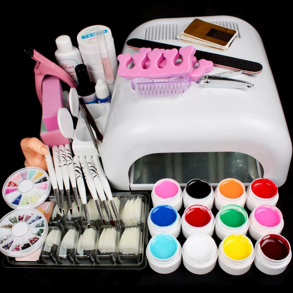 Nail Art Tool Kit: Pro Full 36W White Cure Lamp Dryer & 12 Color UV Gel Nail