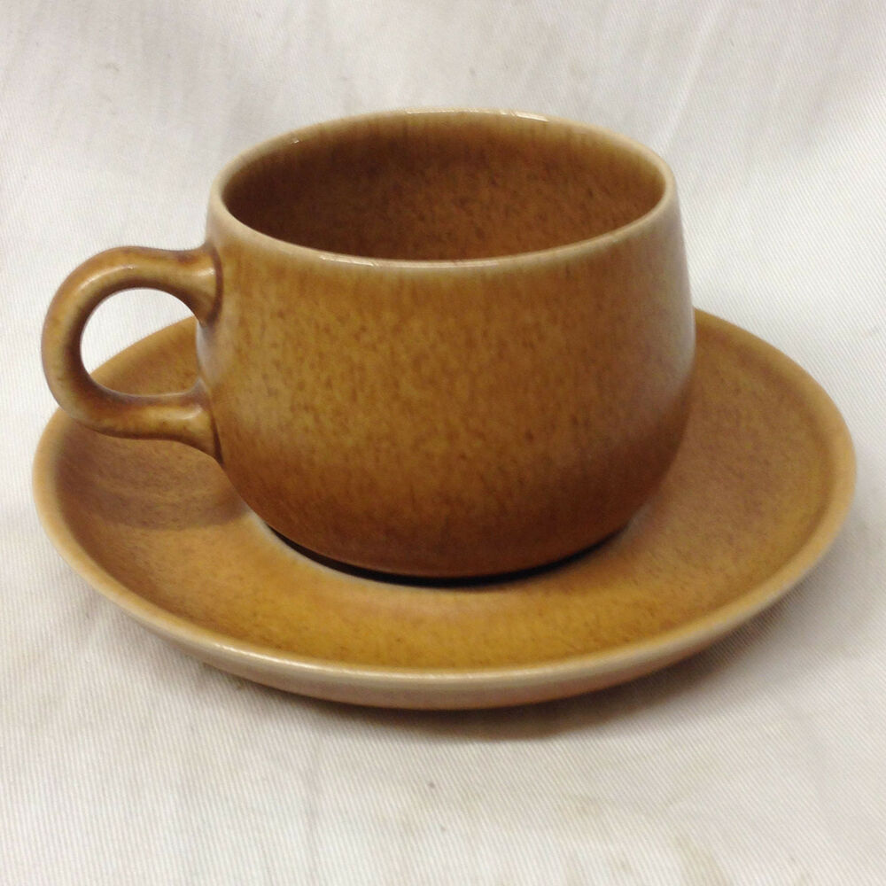 Denby English Brown Tan Rams Head Cup & Saucer Stoneware