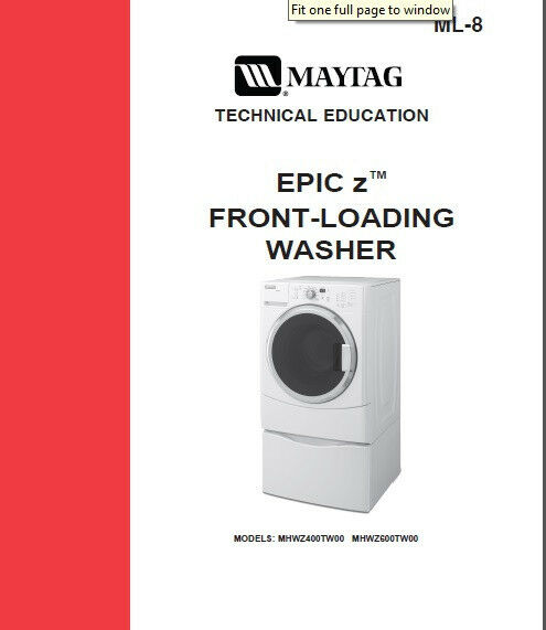 Maytag Epic Z Front Load Washer Service Amp Repair Manual Ebay