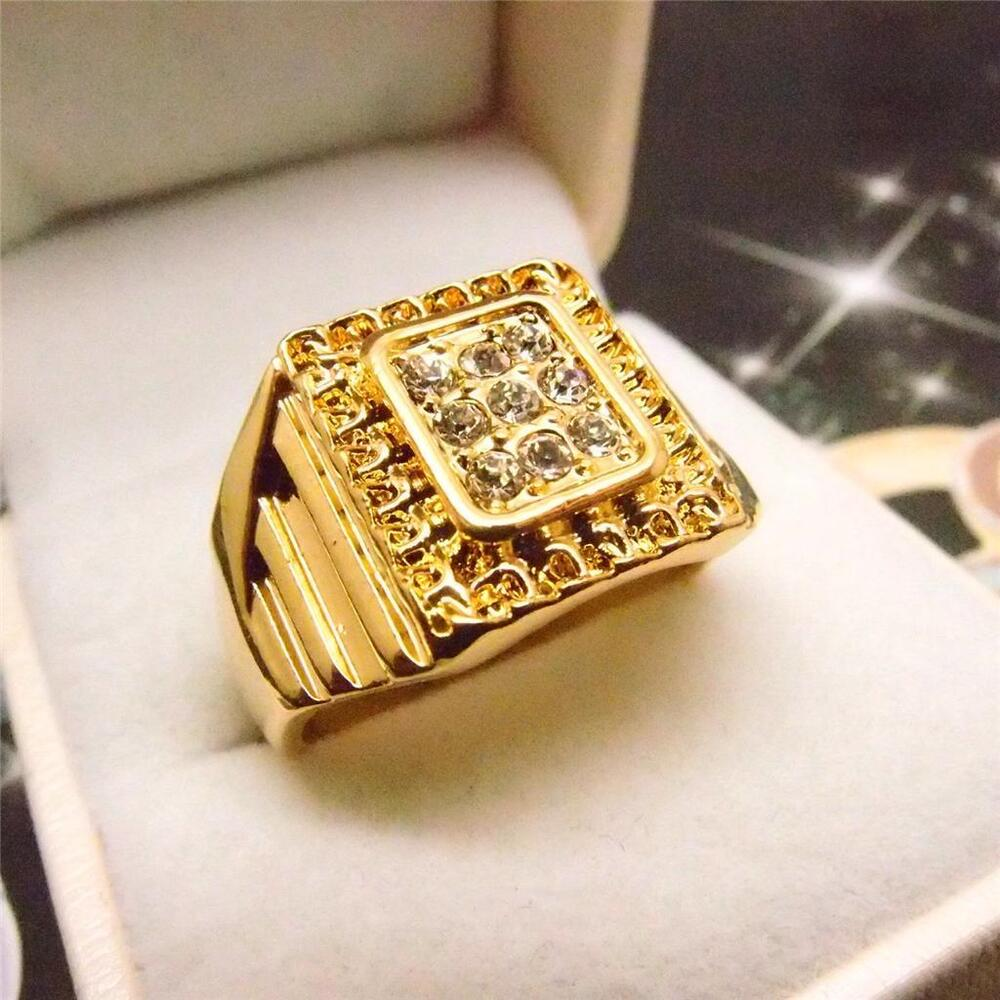 Men Jewelry Hip Hop 14K Yellow Gold Filled Glint Crystal