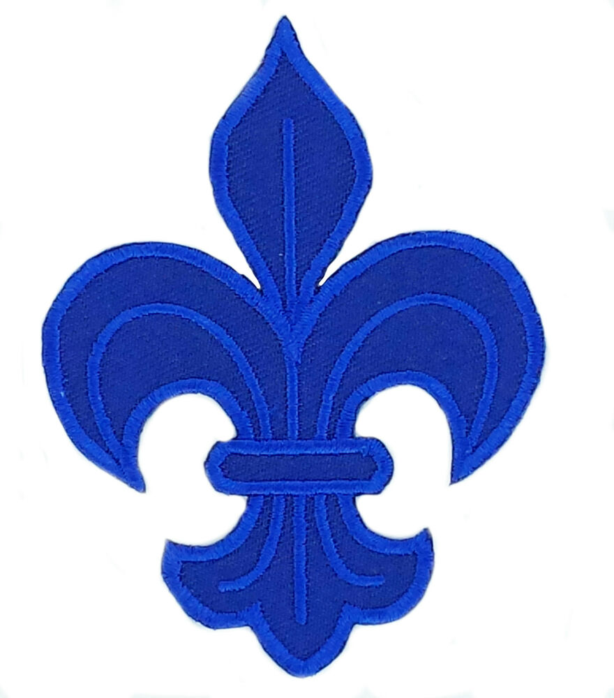 patch patches fleur de lis lys embroidered france french royal cross blue ebay. Black Bedroom Furniture Sets. Home Design Ideas