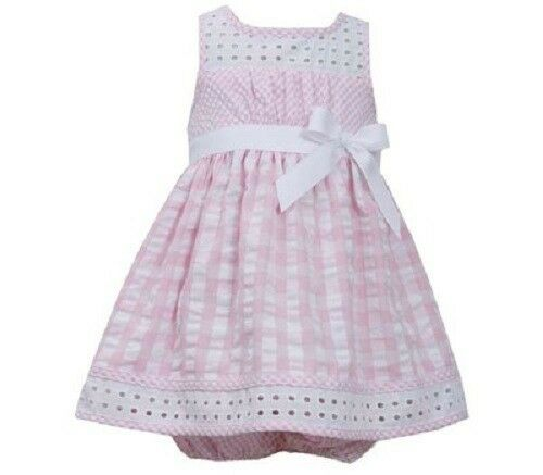 Bonnie Jean Girls Pink White Eyelet Seersucker Spring