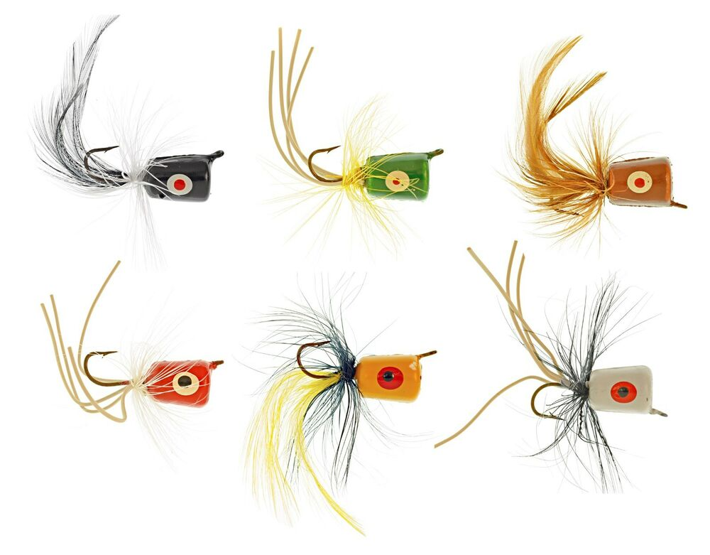 Assortment of 6 fly fishing poppers south bend sbpop6 ebay for Walmart fly fishing