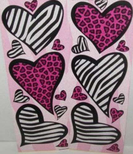 Animal Print Decor: ANIMAL PRINT HEARTS Wall Stickers 20 Decals Leopard Zebra