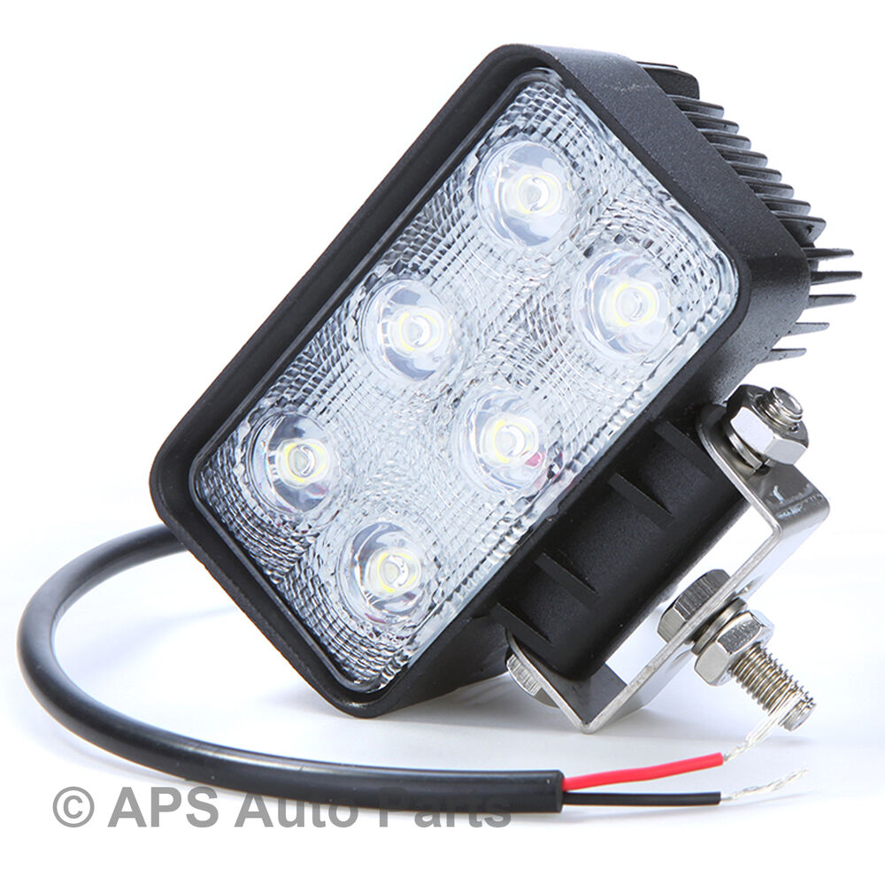 18W 6 LED Work Light Lamp Bar Flood Beam Jeep Tractor