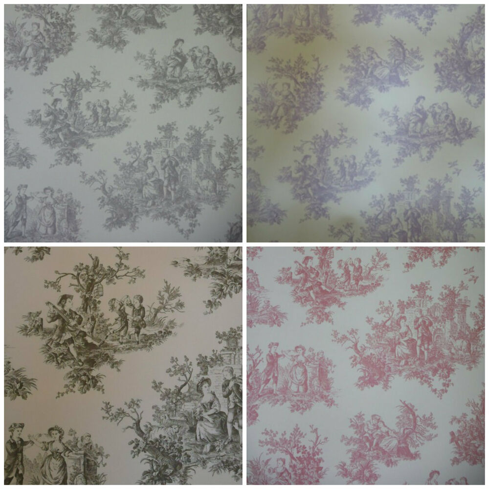 toile de jouy wallpaper 4 colours shabby chic black raspberry charcoal lilac ebay. Black Bedroom Furniture Sets. Home Design Ideas
