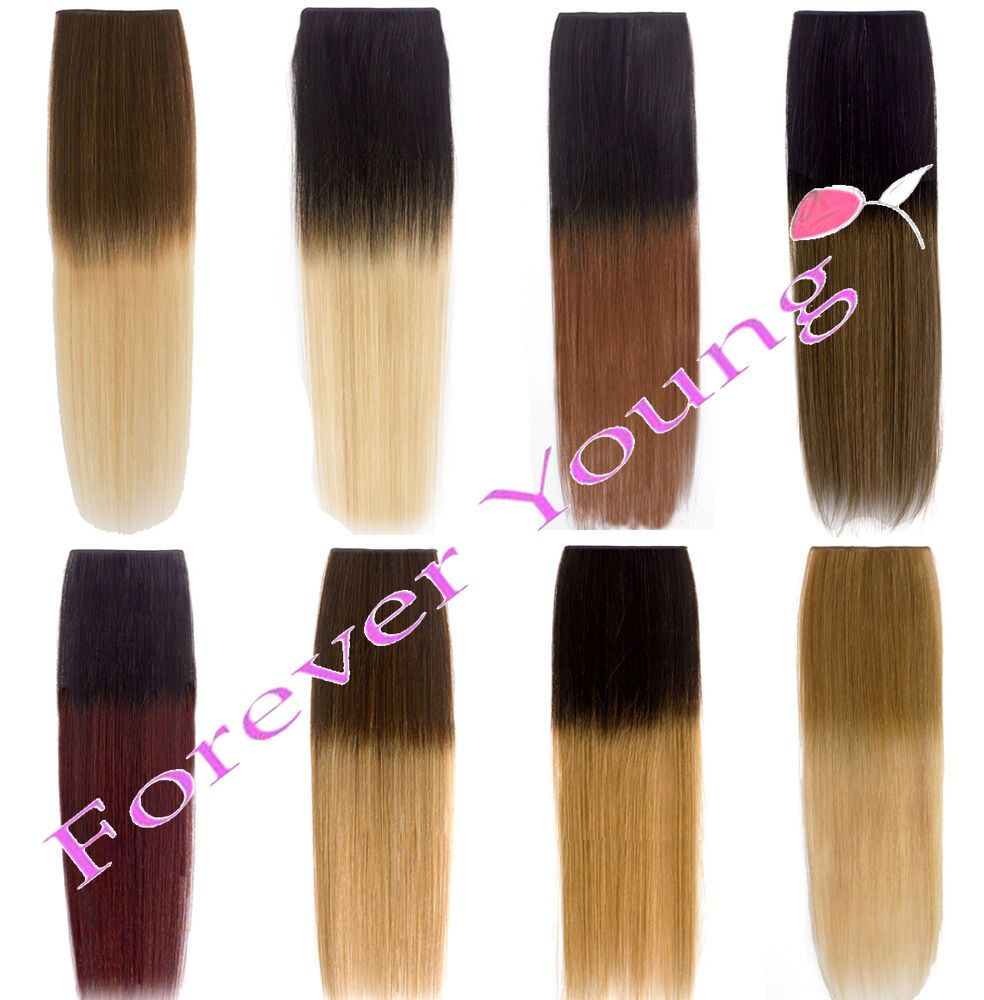 Premium Clip-in Dip Dye Ombre Remy Human Hair Extensions ...