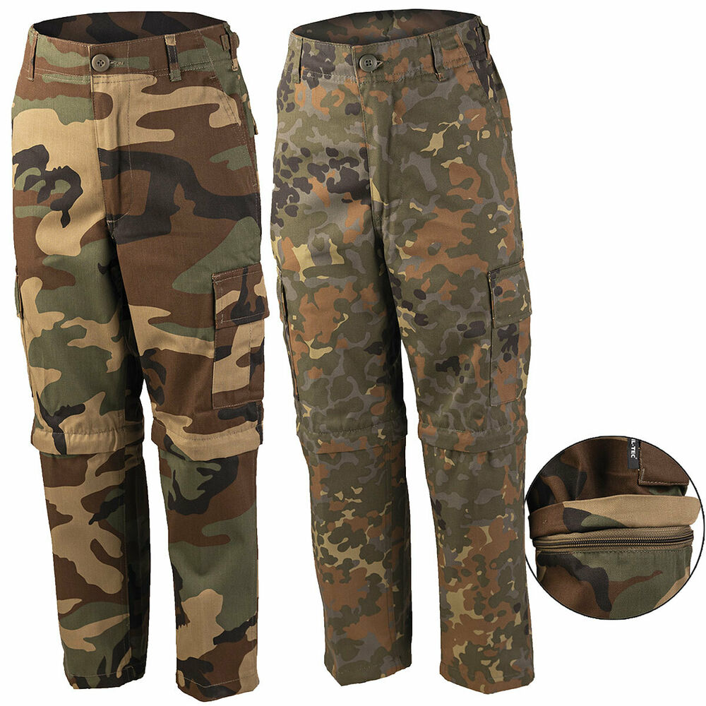 us kinder zip off hose tarn camo outdoor tarnhose kids army kombi hose shorts ebay. Black Bedroom Furniture Sets. Home Design Ideas