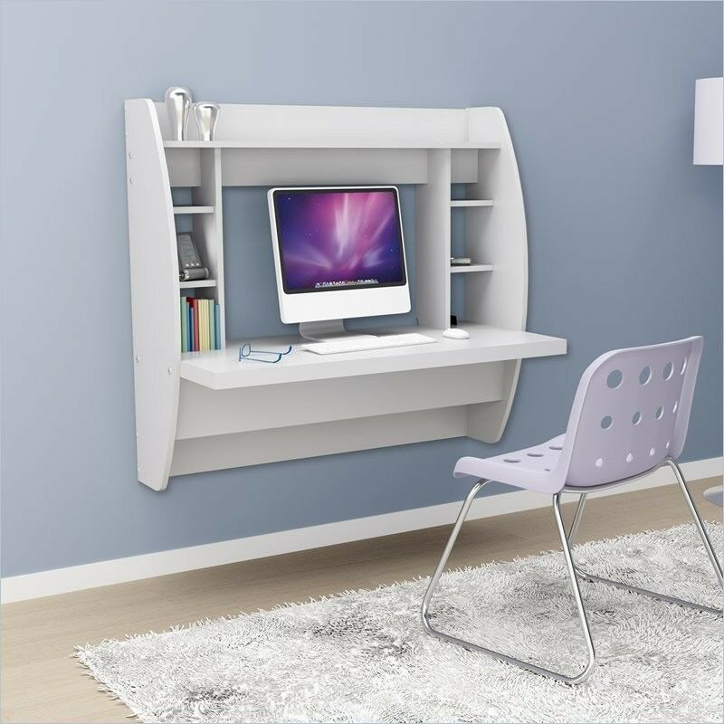 New Prepac White Floating Wall Mount Writing Computer