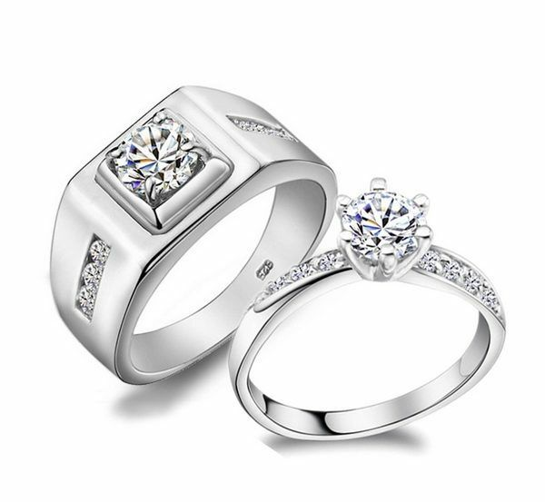 Fashion Solid Silver Pretty Crystal Lover Girl Men Wedding