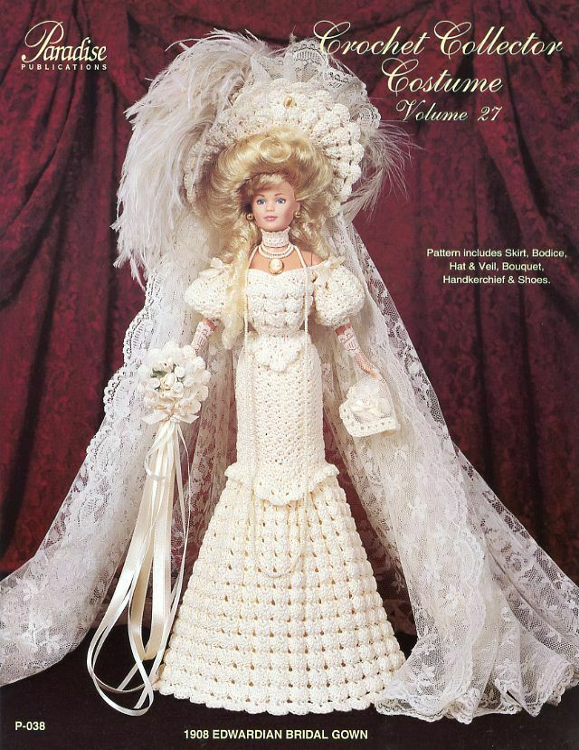 Crochet Doll Dress Potholder Pattern : 1908 Edwardian Bridal Gown for Barbie Doll Paradise #27 ...