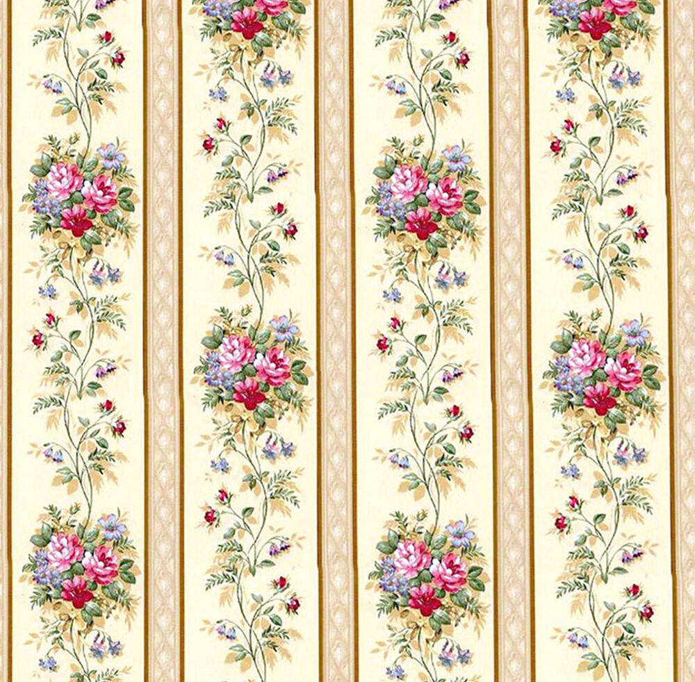 Dolls House Wallpaper 1/12th 1/24th Scale Cream Floral