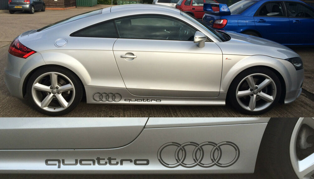 Audi Quattro Stickers Rings And Text In Black Pair Of