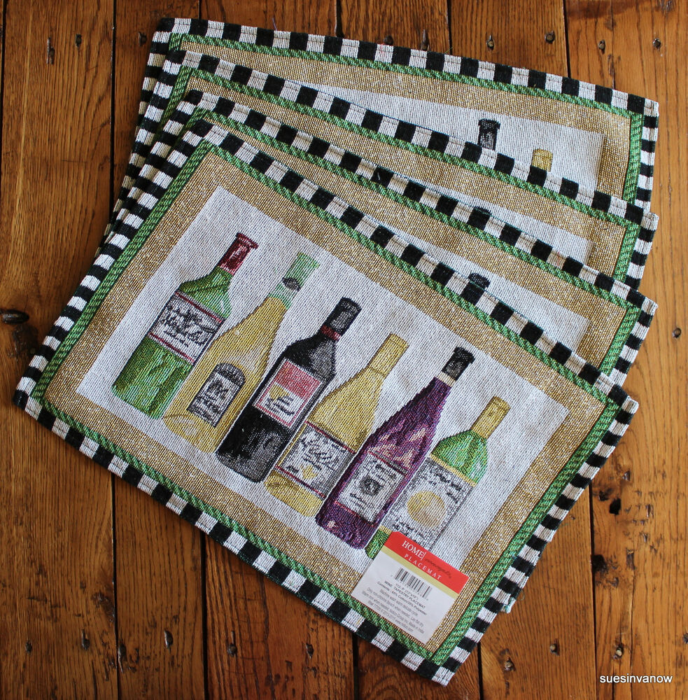 wine bottles tapestry placemats kitchen dining room bar relaxing