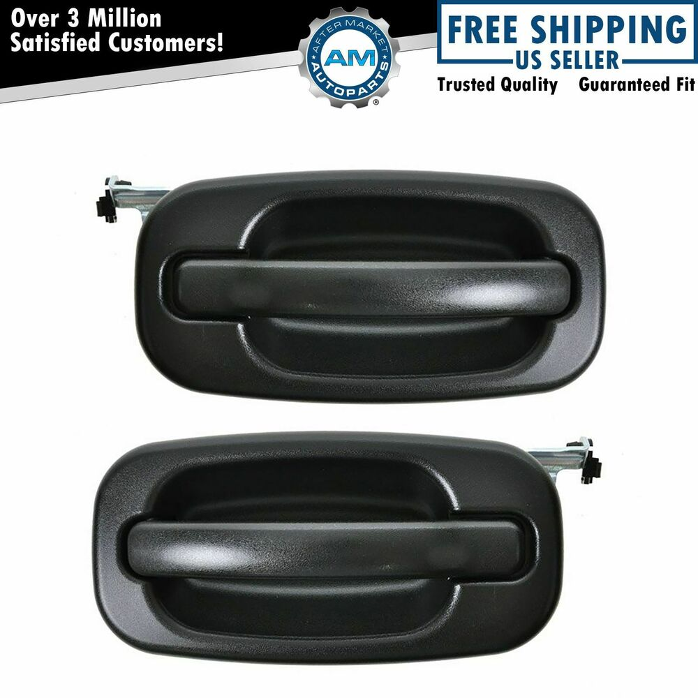Door handles outside exterior black rear pair set for for Rear exterior door