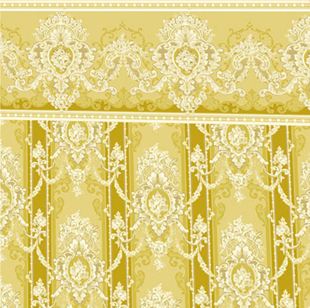 Dolls House Wallpaper 1/12th 1/24th Scale Gold Quality