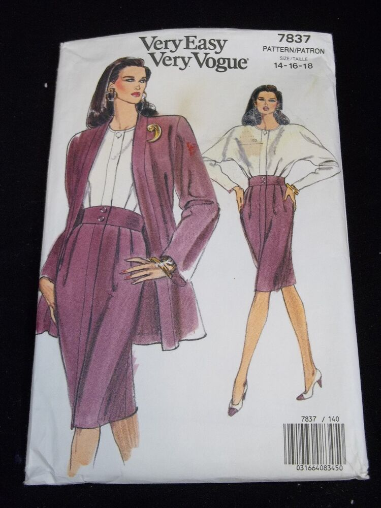 Very Easy Vogue Sewing Pattern 7837 Size 14-16-18 Vtg 60s