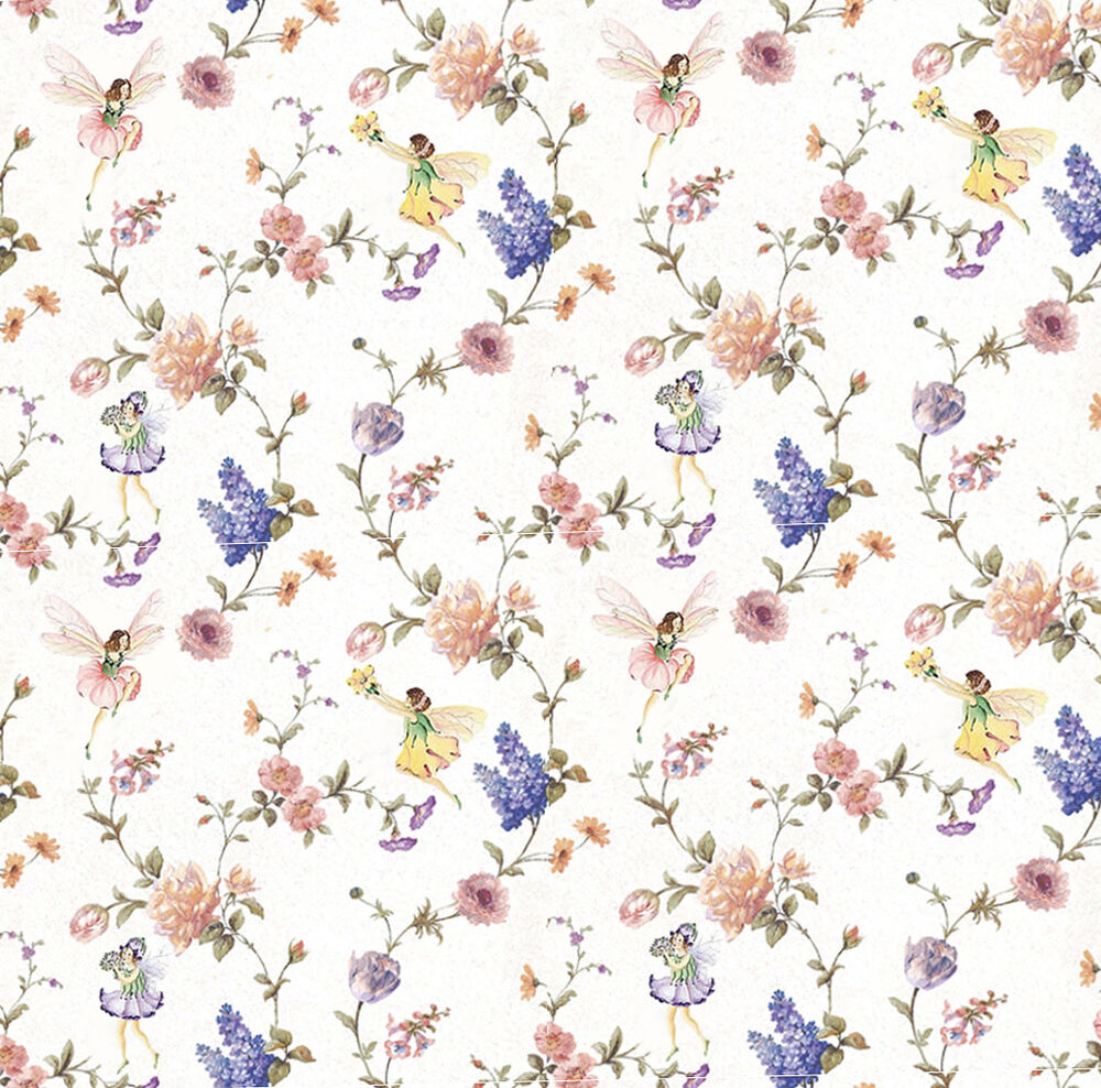 Dolls house wallpaper 1 12th 1 24th scale floral fairies for House wallpaper paper