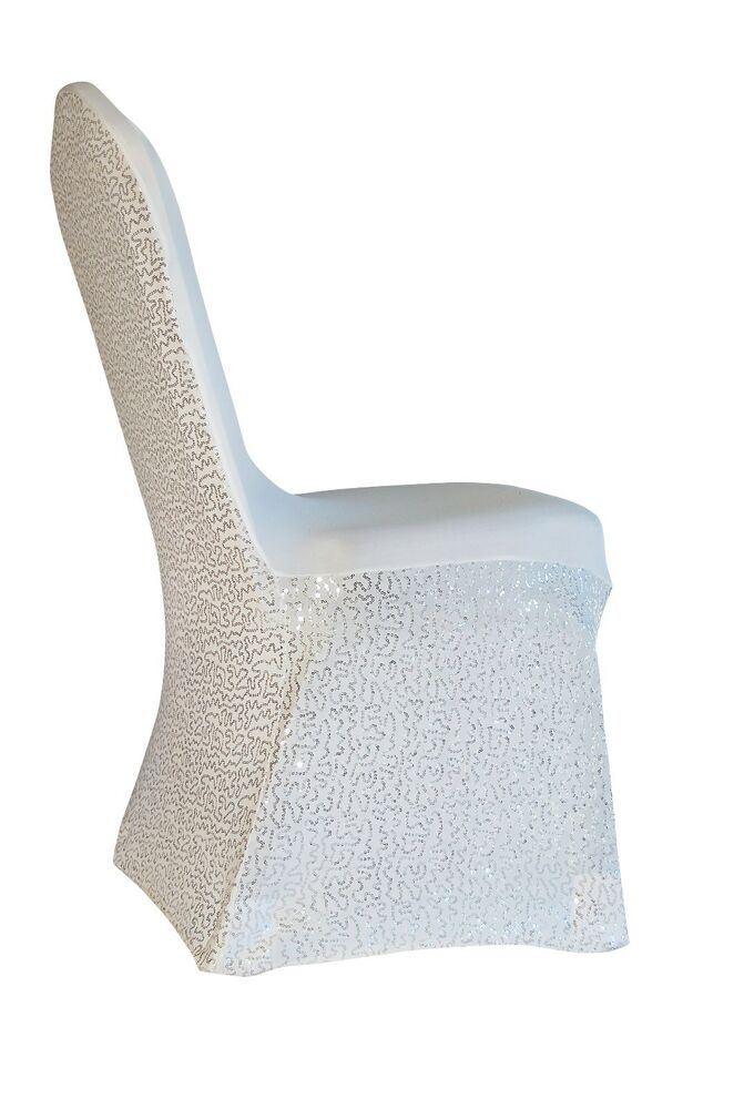 Sequins Spandex Wedding Banquet Chair Covers White Ivory