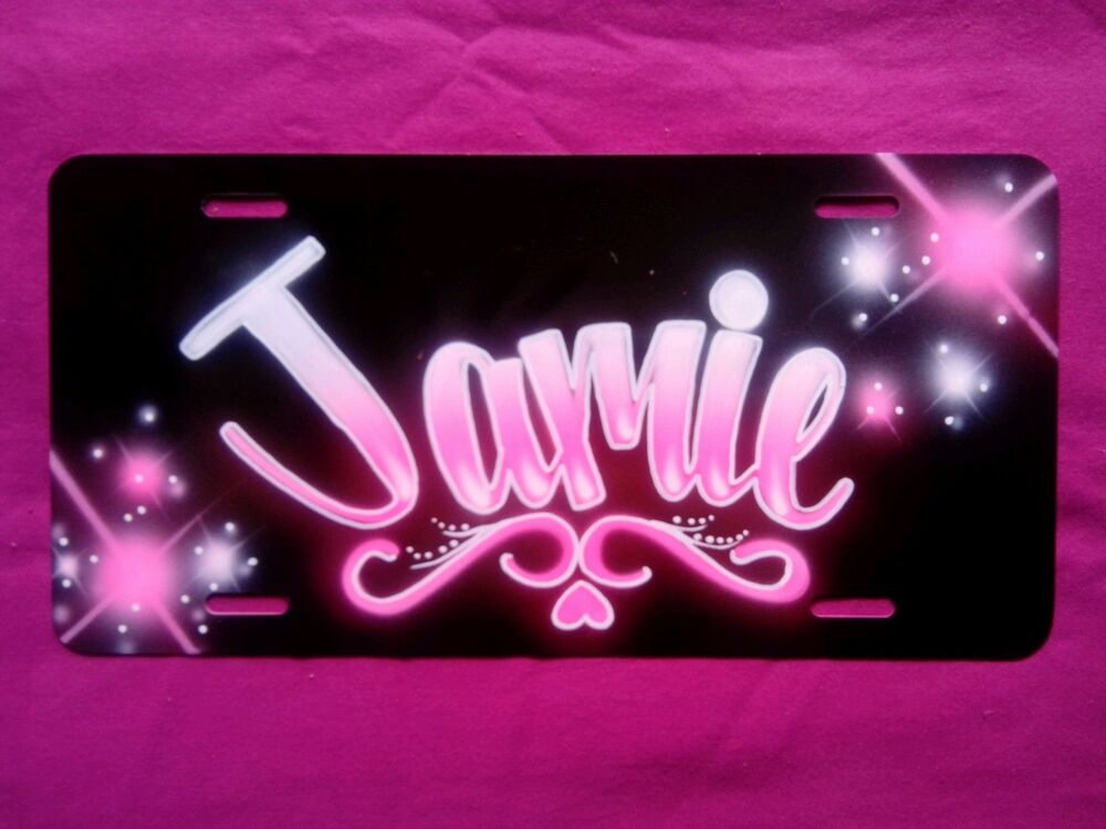 Personalized Front License Plates >> Airbrush Custom License Plate Personalized w/ Your Name ...
