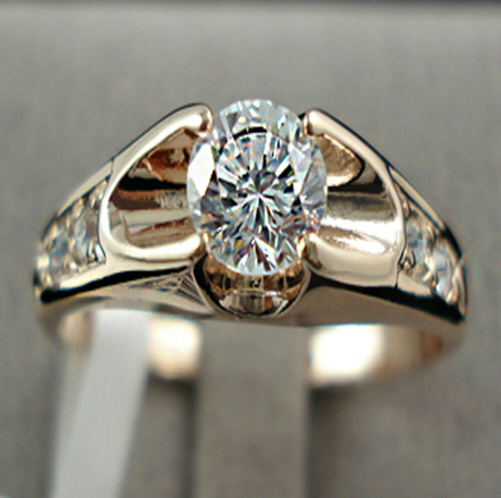 Gold Plated Wedding Rings: Mounting 1 Ct Simulated Diamond Gold Plated On Sterling