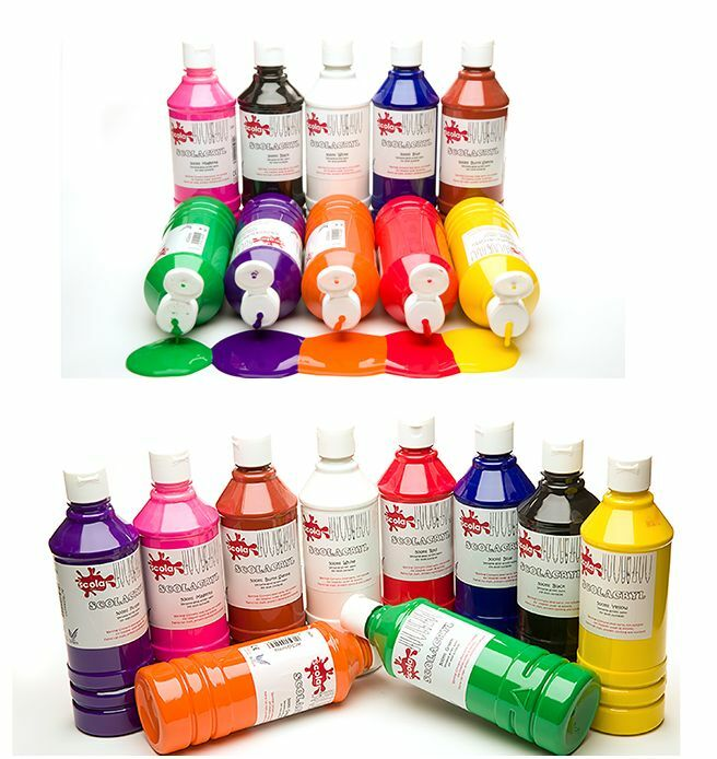 Scola gloss finish acrylic paints 500ml bottles 15 water for How to paint bottles with acrylic