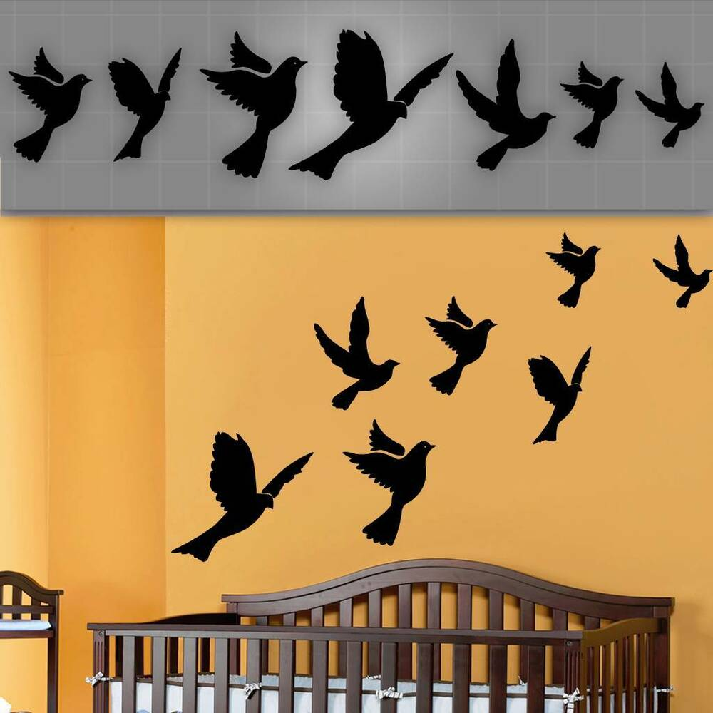 flying birds wall decals nursery wall stickers dove decals 6 14 ebay. Black Bedroom Furniture Sets. Home Design Ideas