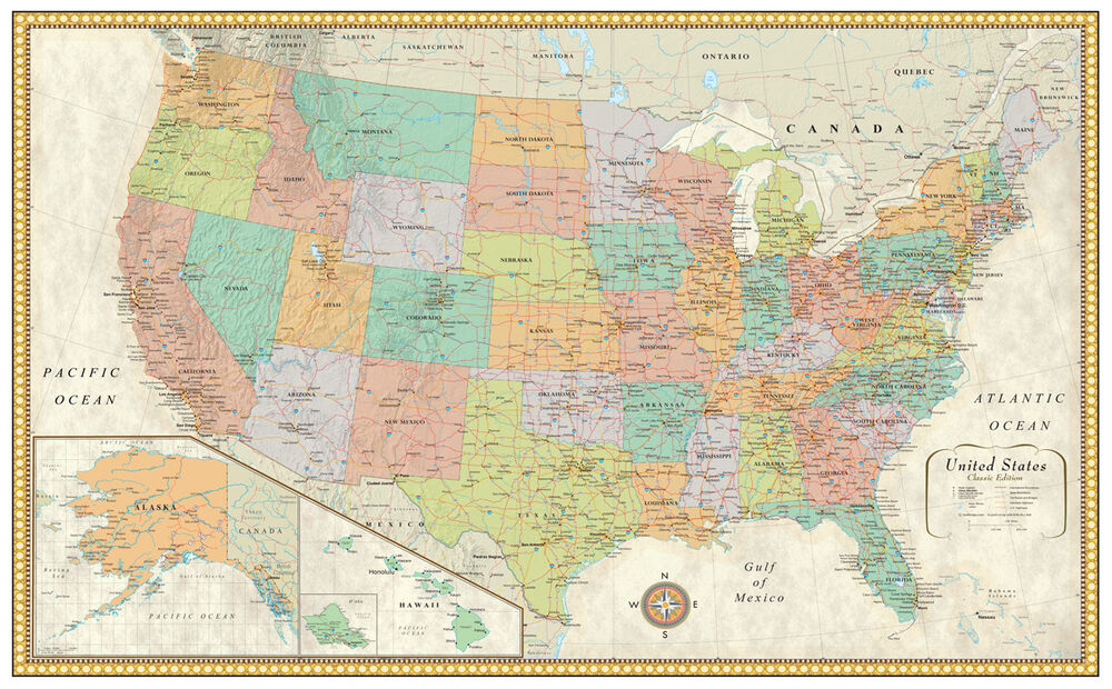 RMC United States USA Classic Wall Map Poster Mural CANVAS eBay