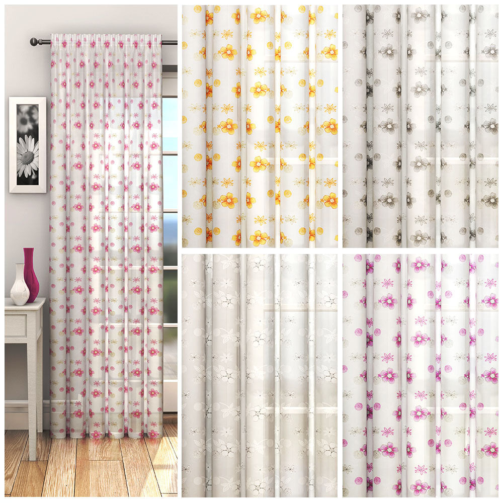 Daisy voile panel floral net curtains slot top curtain for Flowery curtains design