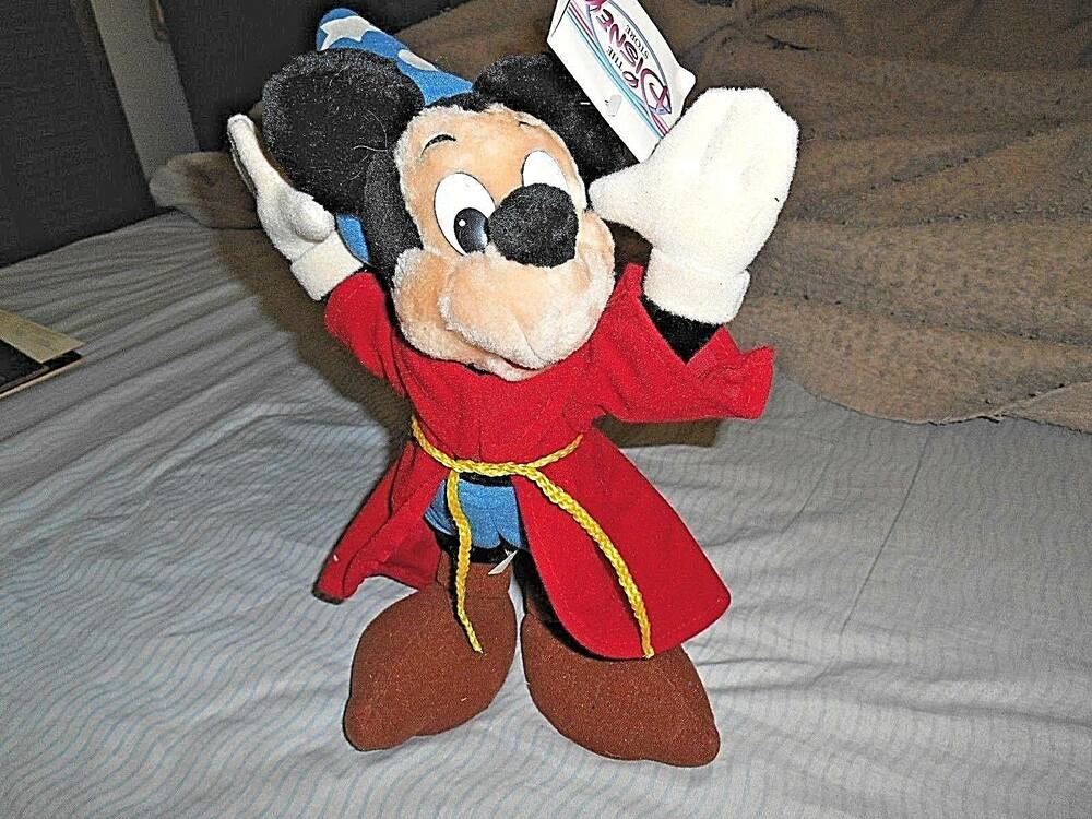 Retro 1990 39 s disney store 14 mickey mouse sorcerer standing plush doll w tags ebay - Disney store mickey mouse ...