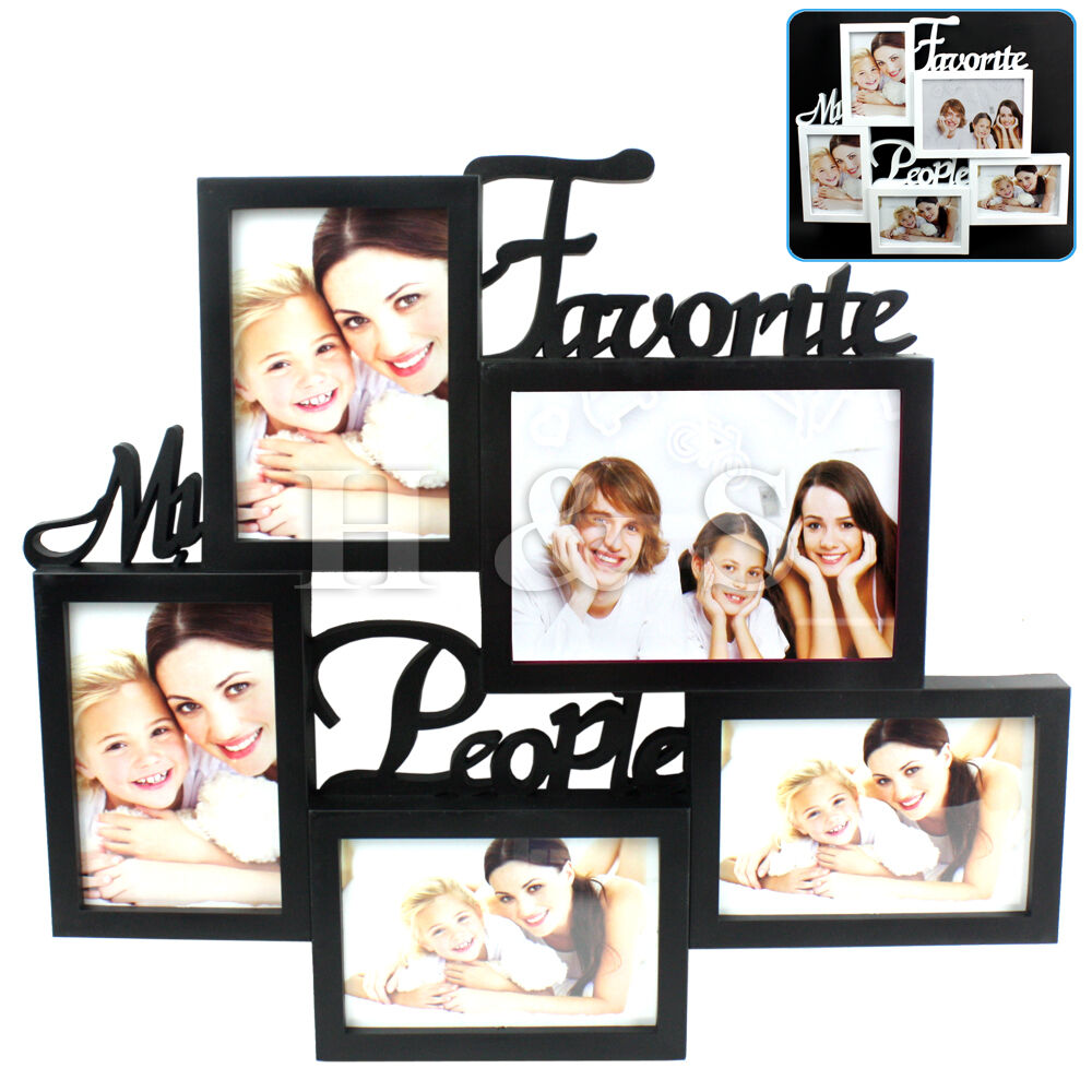 multi collage photo picture frame 6x4 aperture wall black white large writing