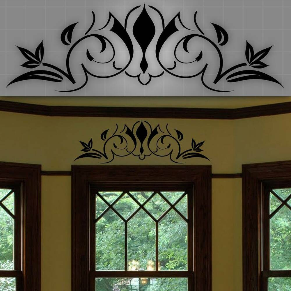 Decorative window accent decal door accent sticker wall home decor 32 x 10 ebay - Fancy wall designs ...
