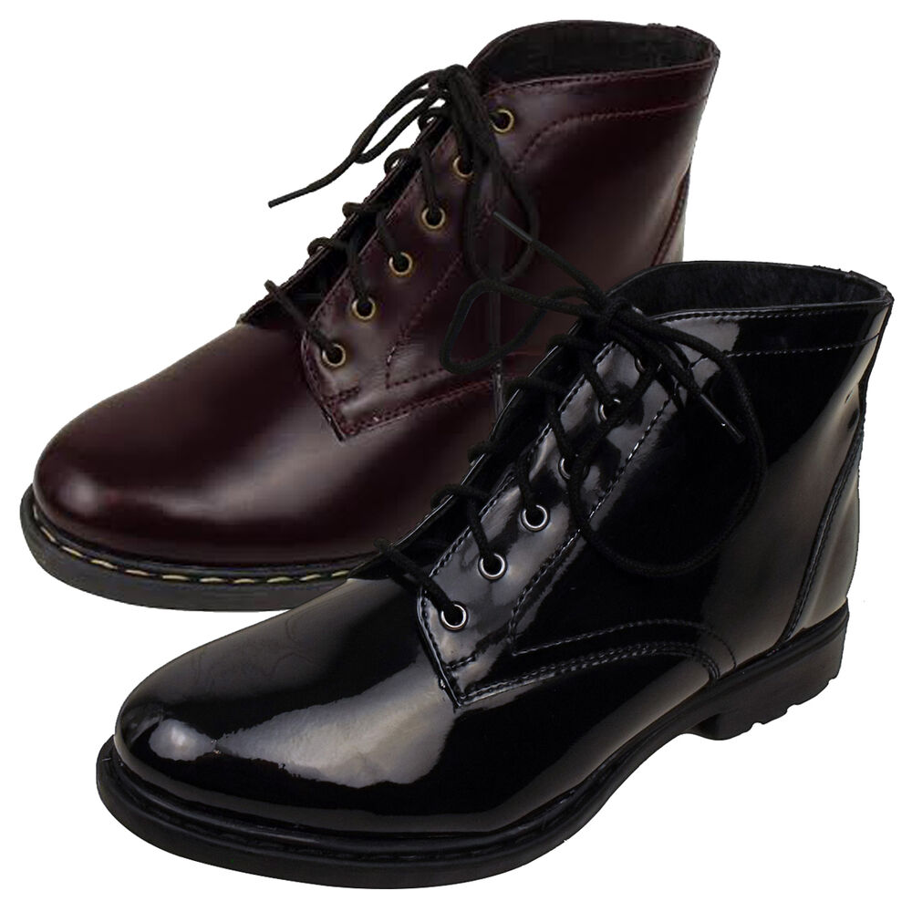 womens office dilly dally ankle boots combat patent