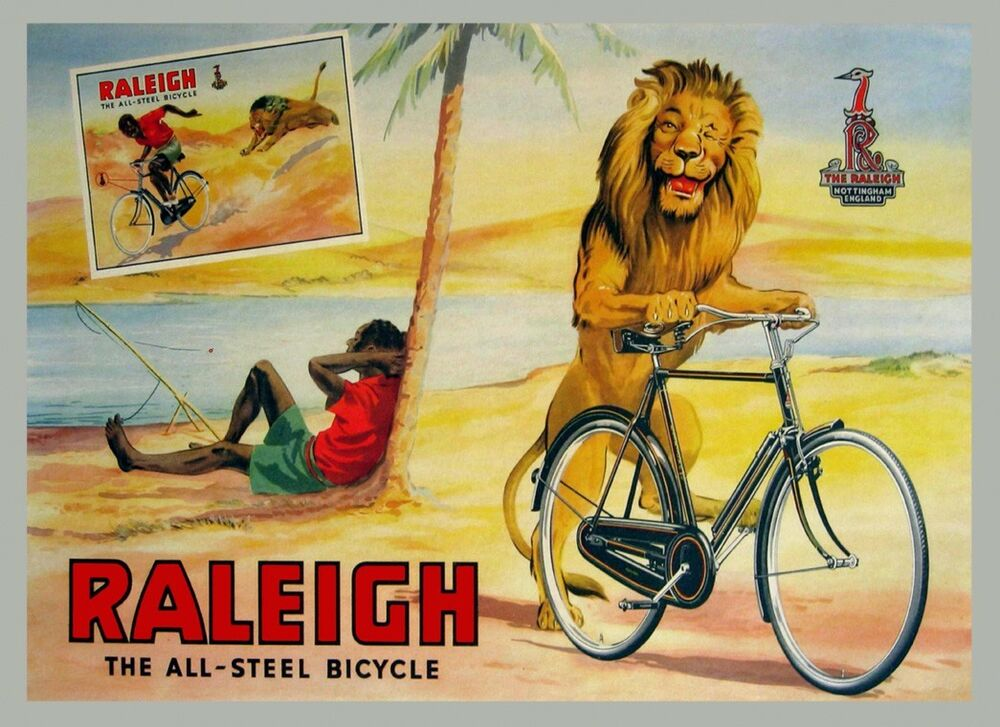Raleigh Bike Lion Stealing Bicycle Vintage Poster Repro