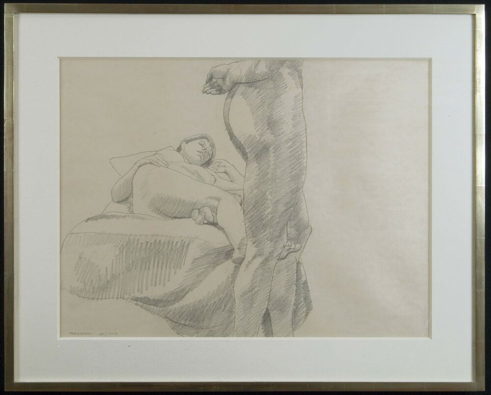 Philip Pearlstein, Pencil Drawing of 2 Models w/Provenance ... Philip Pearlstein Drawing
