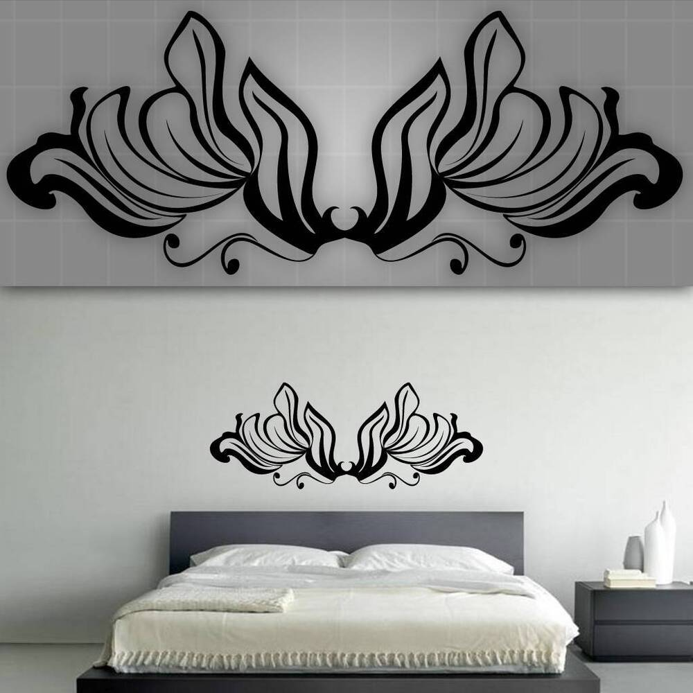 Decorative headboard wall decal bedroom wall decor 48 for Mural art designs for bedroom