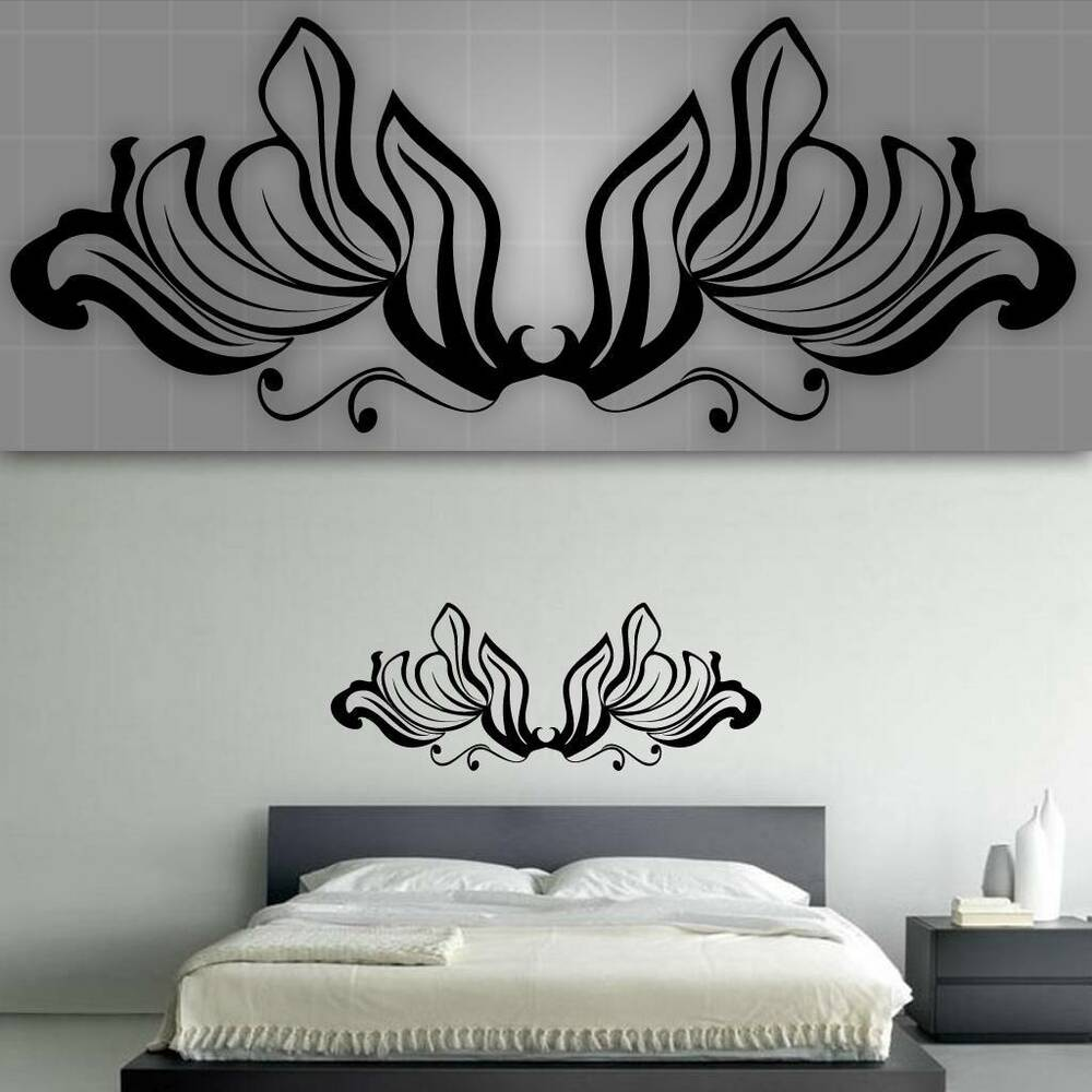 Decorative headboard wall decal bedroom wall decor 48 for Bedroom wall art decor