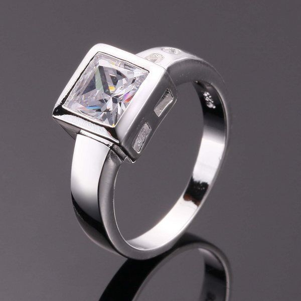 Fashion 925 Sterling Silver Pretty MEN Wedding Party CZ