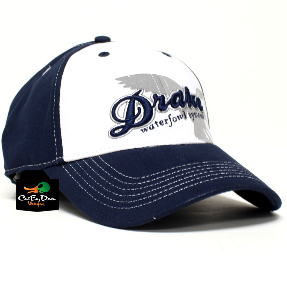 drake waterfowl systems stretch flex fit white front hat