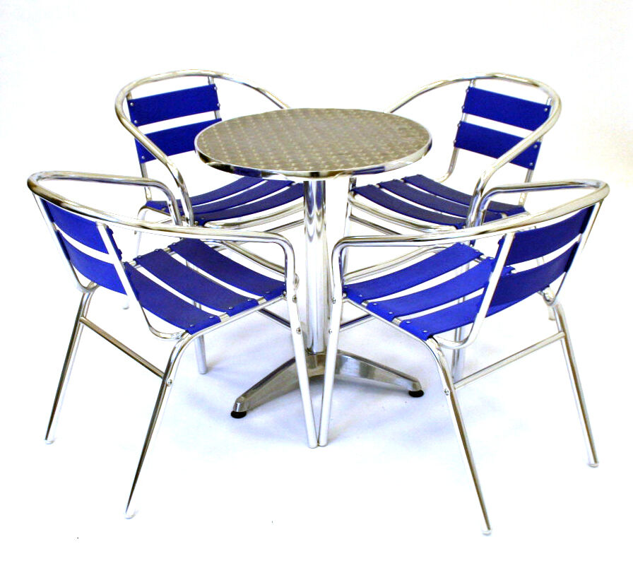 Blue aluminium bistro furniture cafe table and chairs for Ensemble cuisine table chaises