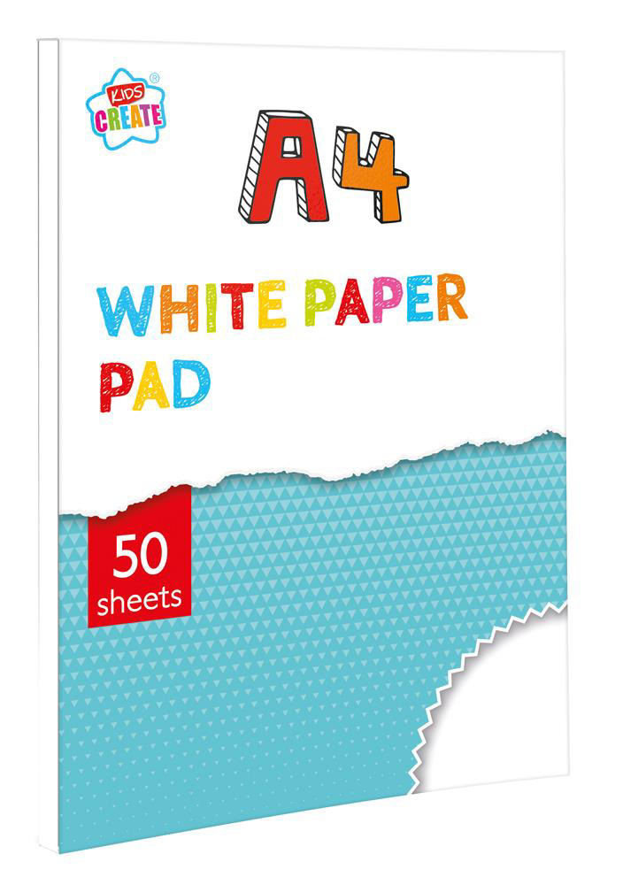 A4 DRAWING PAD 50 SHEETS WHITE PAPER CHILDRENS CRAFT BOOK LEARNING ...