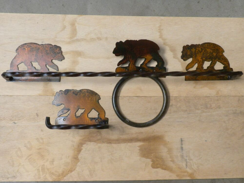 Bear 3 piecetowel bar set bathroom western rustic log home for Rustic bear home decor