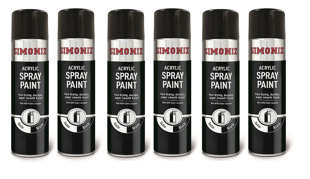 6x satin black aerosol 500ml spray paint body wheel alloy. Black Bedroom Furniture Sets. Home Design Ideas