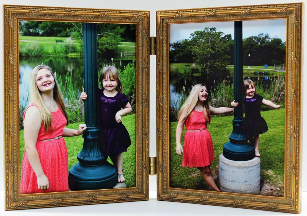 gold ornate double hinged photo picture frame 4x5 4x6 5x7 8x10 new wood ebay. Black Bedroom Furniture Sets. Home Design Ideas