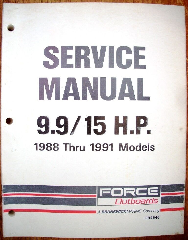 1988 thru 1991 force 9 9  u0026 15hp outboards factory service